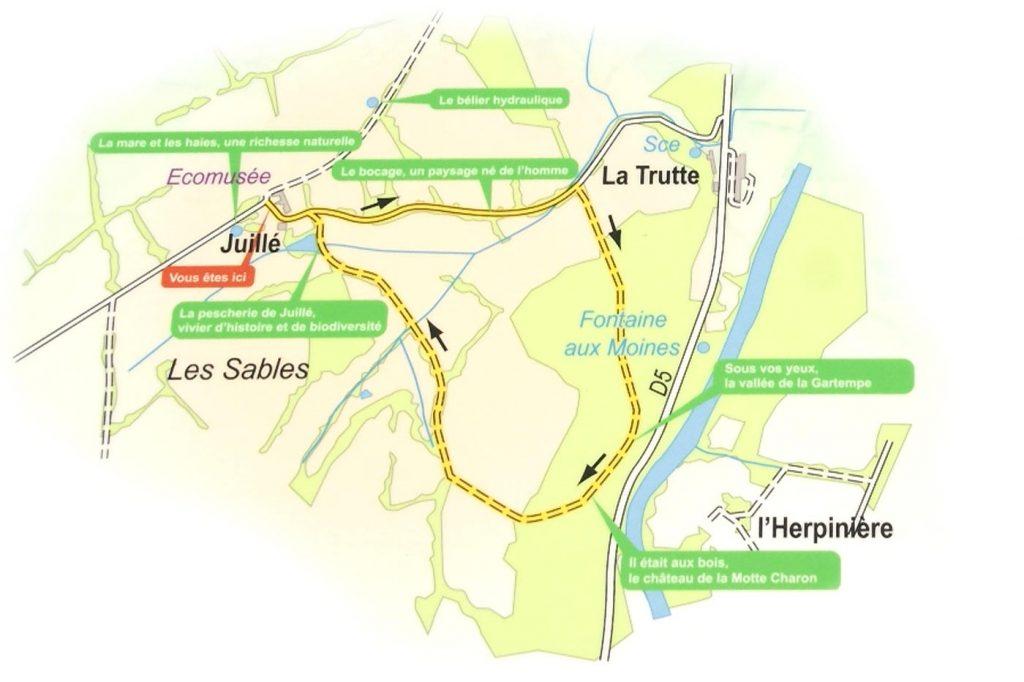 Carte du sentier d'interprétation de Juillé, Saulgé