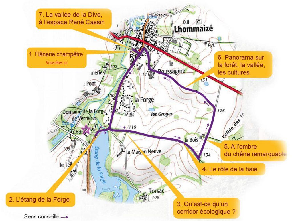 Carte du sentier d'interprétation de Lhommaizé