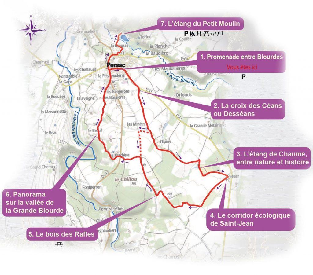 Carte du sentier d'interprétation de Persac